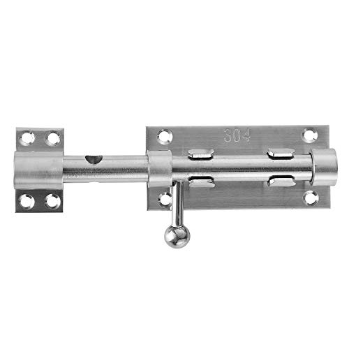 - JQK Sliding Bolt Gate Latch, 6.3 Inch (Thick 2.4mm) Heavy Duty 304 Stainless Steel Barrel Bolt with Padlock Hole, Interior Door Latches Brushed Finish, DL300-BN