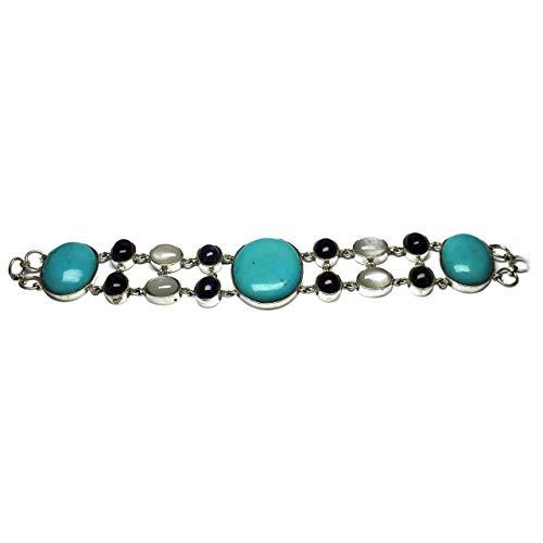 Vintage Turquoise Blue Sterling Silver Multi-color Unisex Link Style Bracelet