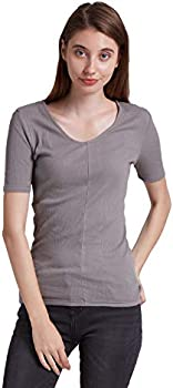 ENIDMIL Women's V-Neck Short Sleeve Rib Tee Basic Knit Top