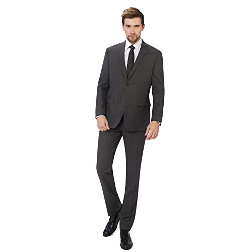 P&L 2-Piece Men's Slim Fit 100% Pure Wool Dress Suit Blazer & Trousers Set
