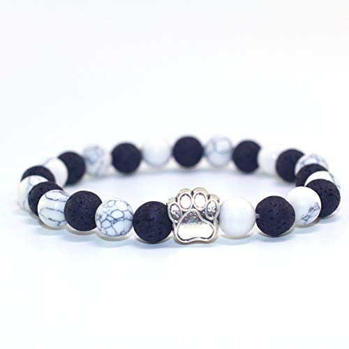 DUOJINZ 8Mm Natural Stone White and Black Yin Yang Beads Bracelets Charms Bracelet Pet Lover Strench Jewelry