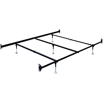 queen size bed frame rail with headboard footboard attachments 5 legs and glides