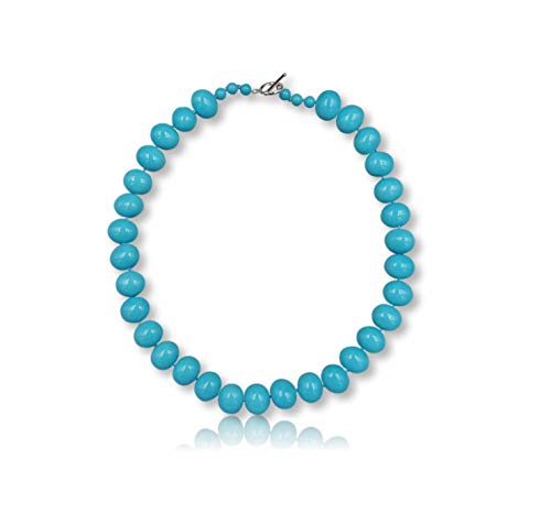 Womens Turquoise Blue South Sea Mother of Pearl Shell Pearl in Egg Shape Beaded Hand Knotted Collar Statement Necklace Sterling Silver Toggle Loop Clasp, about 20