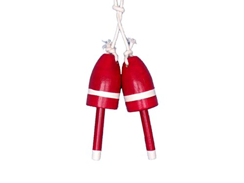 Hampton Nautical Wooden Red Decorative Maine Lobster Trap Buoy (Set of 2), 7