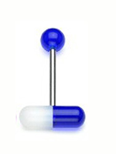 Pill Barbell (The Blue Pill UV Tongue Barbell (14 G) White Translucent Tongue Piercing)