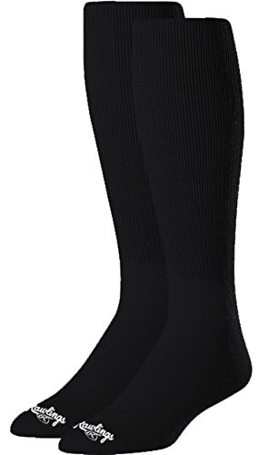 Rawlings SOCM-BLK Baseball Socks 2 Pair (Medium/Black)