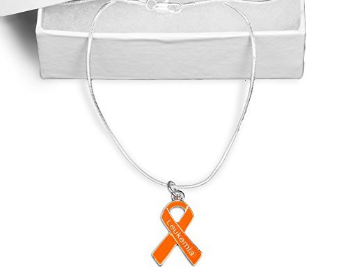 Leukemia Awareness Orange Ribbon Necklace in an Elegant Gift Box (1 Necklace - (Leukemia Orange Ribbon)