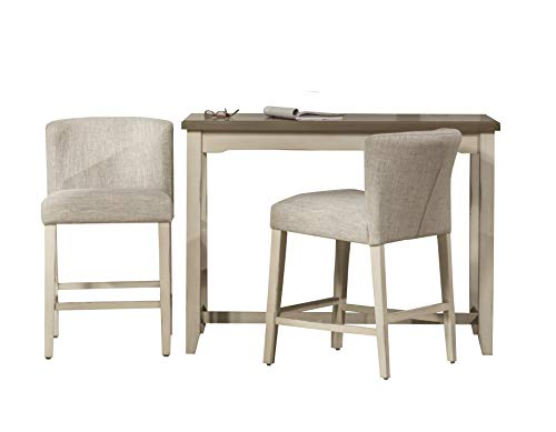 Hillsdale Furniture 4542CDT3S3 Hillsdale Clarion Wing Back Stools 3 Piece Console Set, Distressed Gray/Sea White