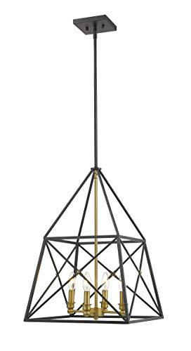 Z-Lite 447-4MB-OBR Trestle 4 Light 16 inch Matte Black and Olde Brass Chandelier Ceiling Light (Olde Brass Chandelier)