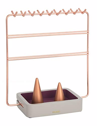 Nakko Modern Jewelry Organizer | Gold Metal 3 Tier Necklace and Earring Display Rack with Ring Holder (Rose Gold + ()