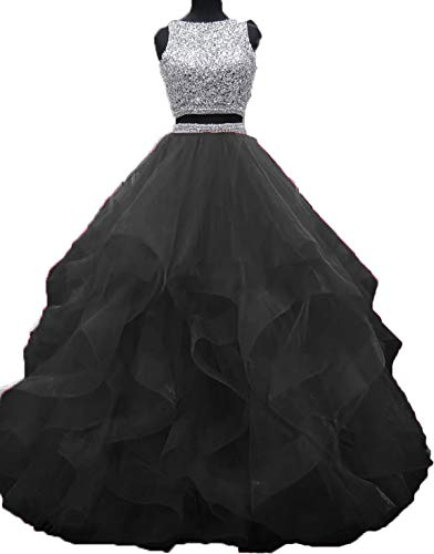 Bonnie Gorgeous Beaded Bodice Prom Dresses 2018 Long 2 Piece Sexy Open Back Ball Gowns Ruffled Tulle Formal Evening Dress BS005 (Halter Ruffled Evening Gown)