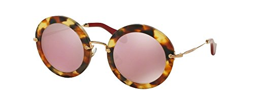 MIU MIU SMU13N Round Sunglasses Sand Light Havana w/Pink Gold Mirror (UA5-4M2) SMU 13N UA54M2 49mm - Round Miu Sunglasses 49mm Miu
