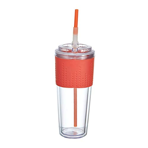 Tumbler Grip (Copco 2510-2144 Lock-n-Roll Double Wall Tritian Spill-Proof Tumbler with Soft Grip Sleeve and Patented Flip Up Straw, 20-Ounce, Coral)