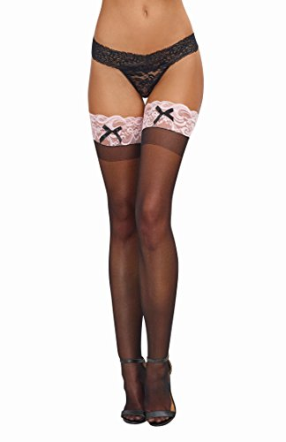 Dreamgirl Women's Sheer Thigh-High Stockings with Contrast Lace and Bow