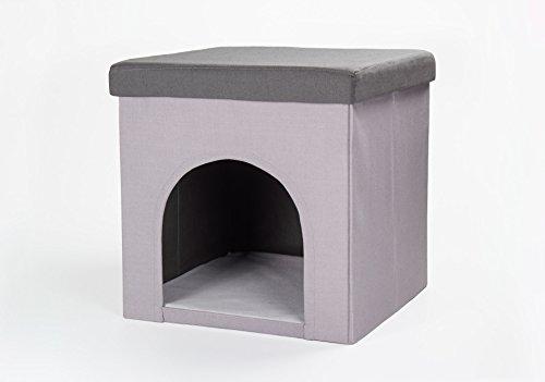 Hundehöhle und Hocker 50x50x50cm, grau, Katzenhöhle, Tierhöhle, Sitzhocker