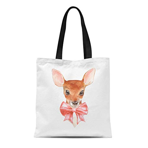 Semtomn Cotton Canvas Tote Bag Animal Baby Deer Cute Fawn Watercolor Artistic Bambi Beautiful Reusable Shoulder Grocery Shopping Bags Handbag Printed