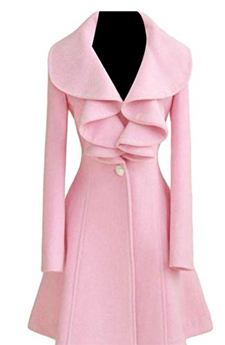 Lutratocro Women's Stylish One Button Ruffled Solid Color Outerwear Wool Blended Long Sleeve A Line Elegant Pea Coat Pink XS -