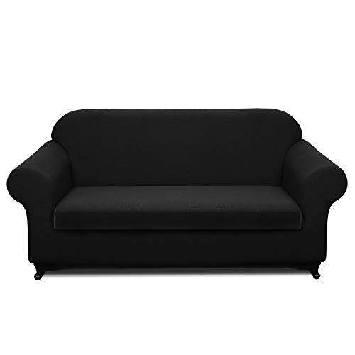 Granbest Stretch Sofa Slipcovers 3 Cushion Couch Covers Water-Repellent Pet Furniture Covers Dog Couch Protectors (Black, Sofa-2 ()