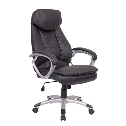 Black Office Chair Real Leather High Back Executive Office Chair Faux Leather Large Seat Computer Desk Chair Ergonomic Design Adjustable Seat Height Synchro Tilt Mechanism 360 Degree Swivel