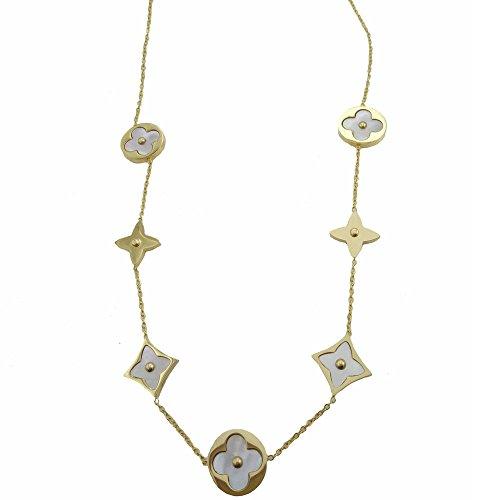 - Baoliren White Shell Yellow Gold Round Multi Clover Women's Strand Necklace