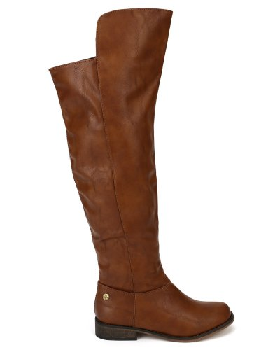 Knee AF82 Round Women Tan Riding High Breckelles Boot Toe Size 6 0 Leatherette YxdYwH