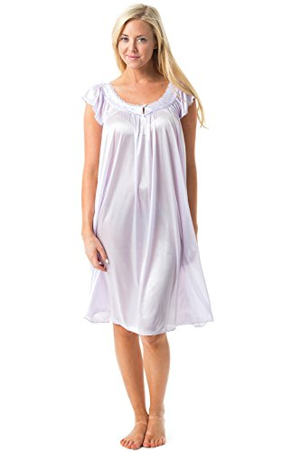 Casual Nights Women's Satin Nightgown Embroidered Lace Cap Sleeve - Purple - Large