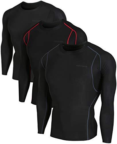 - DEVOPS Men's 3 Pack Cool Dry Athletic Compression Long Sleeve Baselayer Workout T-Shirts (X-Large, Black-Black-Black)