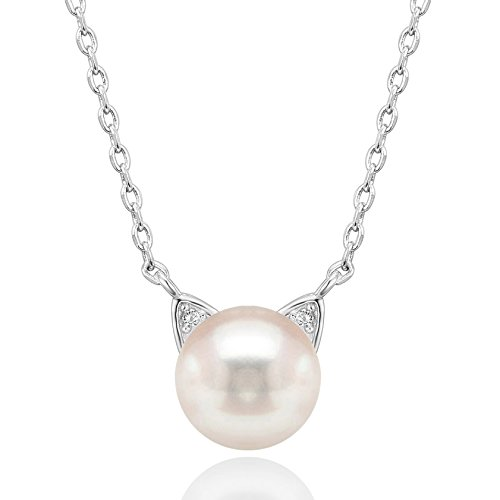 PAVOI Handpicked AAA+ Cat Ear Freshwater Cultured Pearl Necklace Pendant - White -