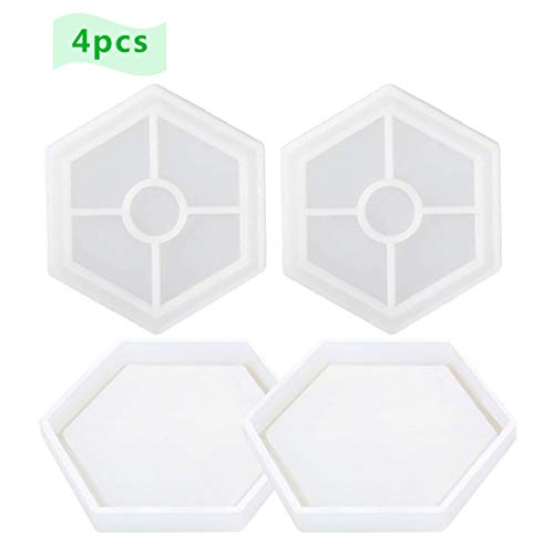 4 Pcs DIY Hexagon Coaster Silicone Mold Silicone Resin Mold Clear Epoxy Molds for Casting with Resin, Concrete, Cement and Polymer Clay ()