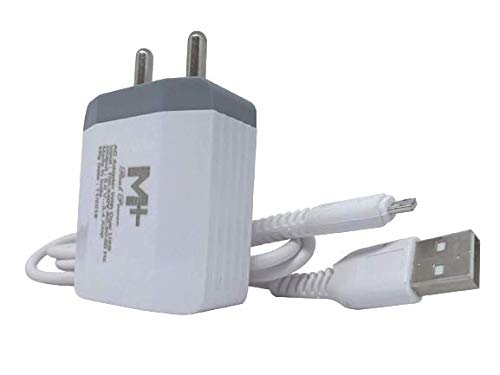 M Plus Super Fast Dual USB Port 3.4A Charger with Micro USB Cable.  White   Compatible with Android   iOS Devices