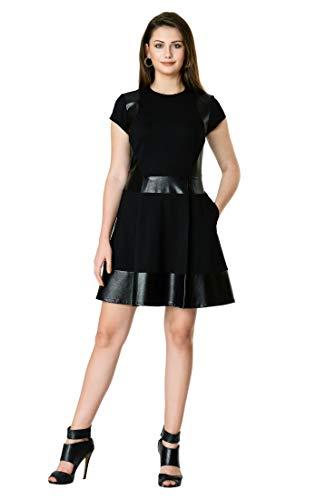 eShakti FX Faux Leather Banded Trim Cotton Knit Dress Black/tan