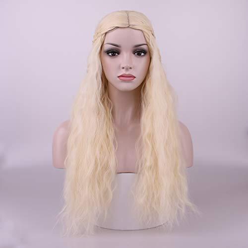 Yilys Long Blonde Fluffy Cosplay Wig With Braid Halloween Beautiful Curly Hair]()