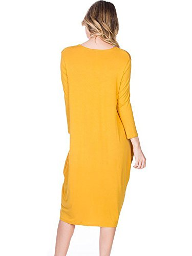 XXL Neck 3 USA in S Tulip Yellow 12 Hem Ami Midi Round 4 Made Sleeve Dress FwxtPCEq