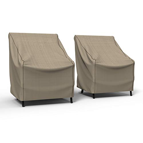 Budge P1A03PM1-2PK English Garden Patio Chair Cover (2 Pack) Heavy Duty and Waterproof, Small (2-Pack), Tan Tweed