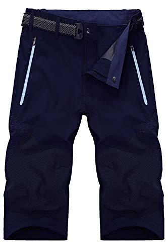 Mr.Stream Men's Classic Bermuda Beach Capri 3/4 Cropped Sweatpants Camping Quick Drying Casual Shorts XL Blue ()