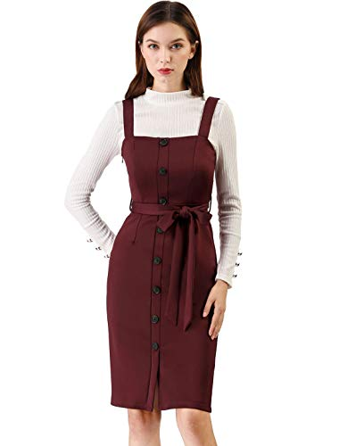 Allegra K Women's Button Decor Strap Sheath Suspender Overall Jumper Dress M Burgundy