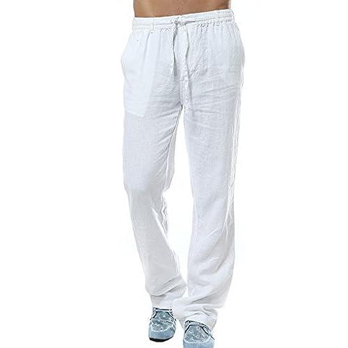 Utcoco Mens Mid Waist Straight Leg Linen Thin Pants Large White