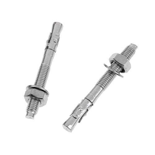 Dovewill 2 Pieces M10 x 90mm Stainless Steel Fixed Point Setscrew Expansion Bolt Nut Piton Mountaineering Rock Climbing Anchor Equipment Gear
