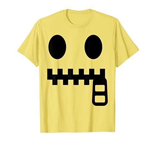 Zipper Mouth Costume (Halloween Emojis Costume Shirt Zipper Mouth Face Emoticon)