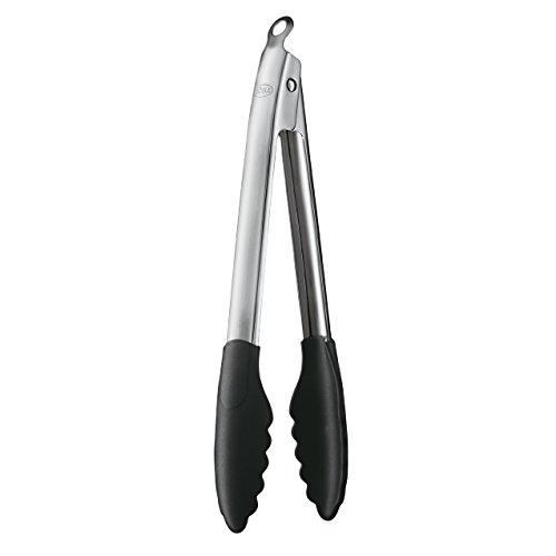 Rösle Stainless Steel Lock and Release Silicone Coated Cooking Tongs, 12-inch