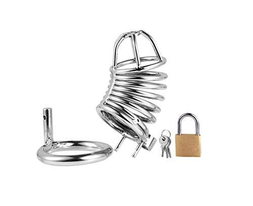 Cerradura de de castidad de Cerradura acero inoxidable de los hombres sexy SM, productos para adultos, plata, 40 mm d35fb3