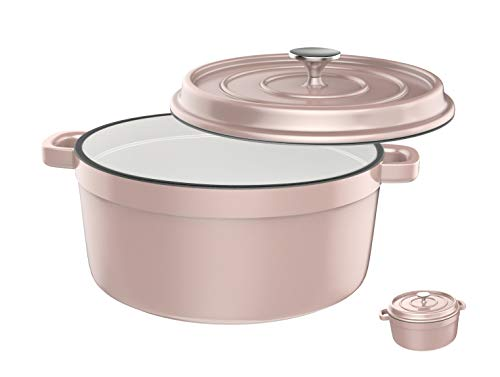 Especo Cast Iron with Lid Enameled Dutch Oven Casserole Dish Nonstick Multi-functional Cookware Large Loop Handles & Self-Basting Condensation Ridges On Lid (4-quart, Pink)