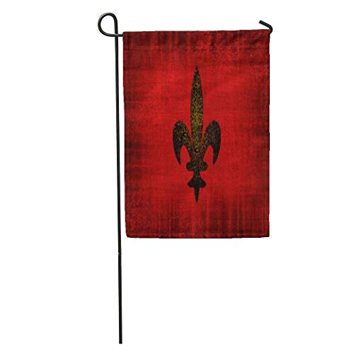 (yyoungsell Garden Flags Look Medieval Red Velvet Fleur Lis Old Gold Outdoor Decorative House Yard Flag)