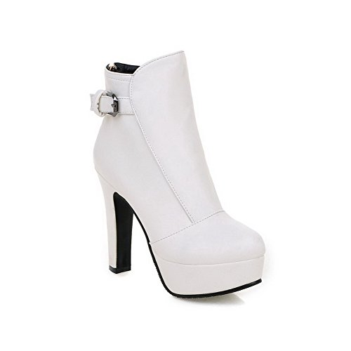 AgooLar Women's Zipper High Heels Pu Solid Low Top Boots White 1THyyP7KT