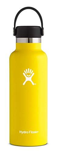 - Hydro Flask 18 oz Water Bottle | Stainless Steel & Vacuum Insulated | Standard Mouth with Leak Proof Flex Cap | Lemon