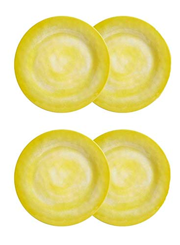 Northeast Home Goods Solid Swirl Melamine Round Salad Plates, Set of 4 (Yellow)