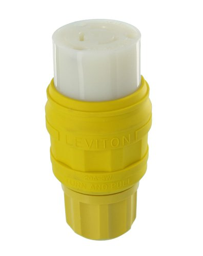 Leviton 76W48-C 20 Amp, 250 Volt, NEMA L6-20, 2P, 3W, Industrial Grade, Grounding, Wetguard, Locking Connector for Single Inlet, Yellow