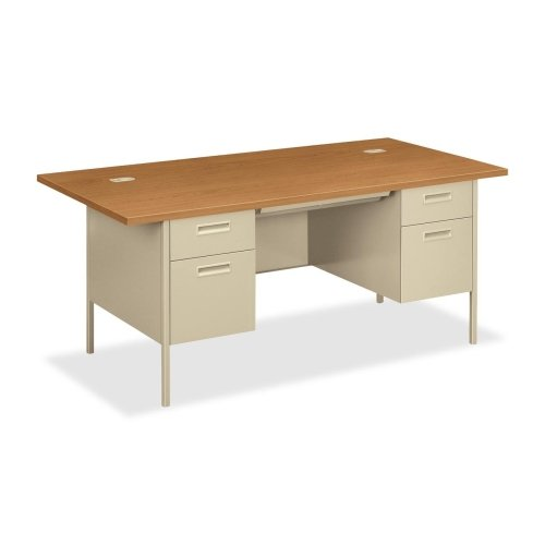 HON Double Pedestal Desk with Overhang, 72 by 36 by 29-1/2-Inch, - Height 3/4 Pedestal Desk