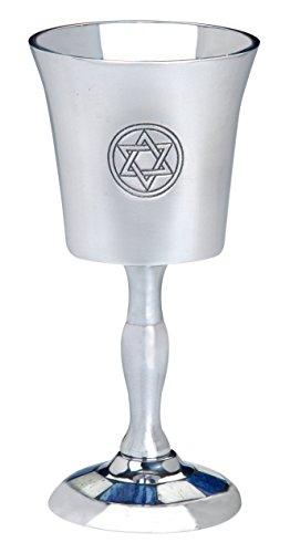 Blue and White Inlay Star of David Design Aluminum Kiddush (Star Of David Kiddush Cup)