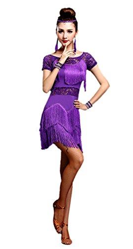 Honeystore Women's Latin Dress Lace Pattern Tiered Tassel Flapper Costume Dress Purple L (Latin Dancing Costume Patterns)